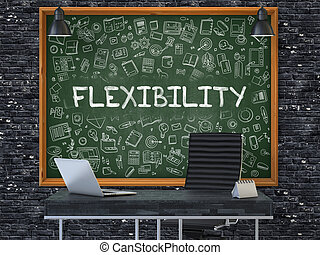 Chalkboard on the Office Wall with Flexibility Concept. - ...