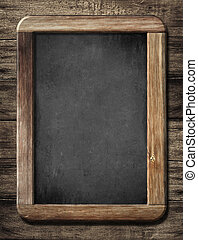 chalkboard or blackboard on old wood background - chalkboard...