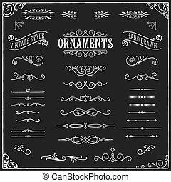 chalkboard, ornamentos