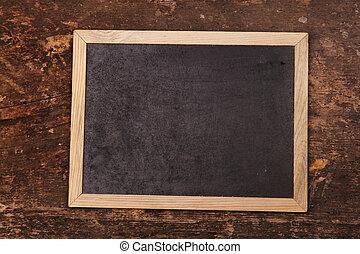 chalkboard, på, trä, bakgrund
