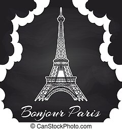 Chalkboard Paris poster with Eiffel tower