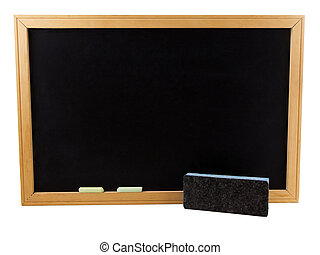 Chalkboard - Photo of a chalkboard with an eraser and chalk,...
