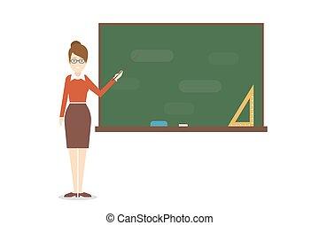 chalkboard., professor