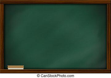 chalkboard, quadro-negro, com, quadro, e, brush.,...