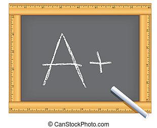 chalkboard, quadro, régua, positivo