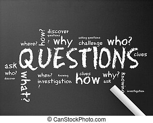 Chalkboard - Questions - illustration of questions on a dark...