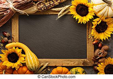 chalkboard, sütőtök, keret, bukás