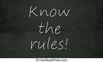 chalkboard, saber, a, regras, ilustração