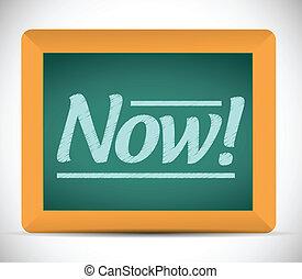 chalkboard., scritto, ora, messaggio, illustrazione