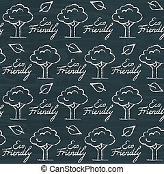 Chalkboard seamless pattern with Eco Friendly text