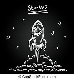 Chalkboard sketch rocket startup, Creative idea, Vector...
