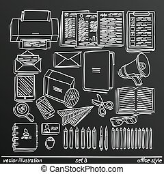 Chalkboard sketch work style. set 2. Vector illustration