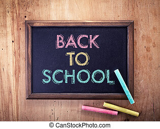 Chalkboard with back to school text and chalk on wooden...