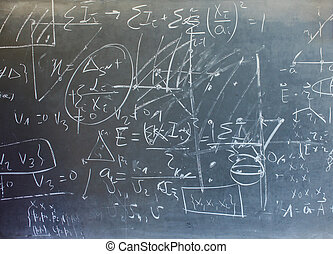 Chalkboard - View of mathematical expressions drawed on...