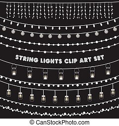 Set of glowing string lights on a chalkboard grey background. EPS 10 with transparency.