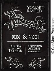 Chalkboard style vintage wedding invitation card on blackboard background