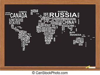 chalkboard, szöveg, világ