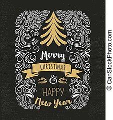 chalkboard, szüret, mód, karácsonyfa
