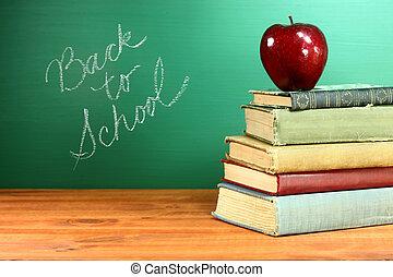 chalkboard, szkoła książki, jabłko, wstecz