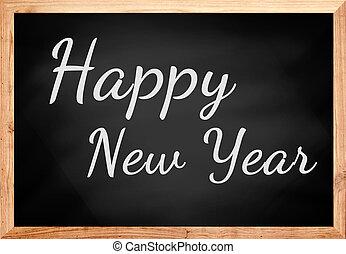 chalkboard., tekst, gelukkig nieuwjaar