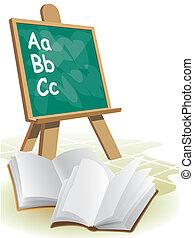 Chalkboard - Two open blank books in front of blackboard.