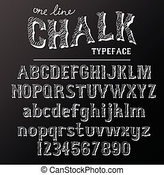 Chalkboard typeface, modern font written on the board with charcoal