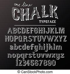 chalkboard, typeface, modernos, fonte, escrito, ligado, a placa, com, carvão
