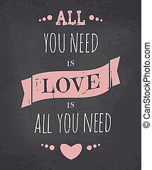 Chalkboard Valentine Card - Chalkboard style Valentine's Day...