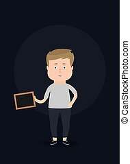 chalkboard., vector, illustration., tenencia, hombre