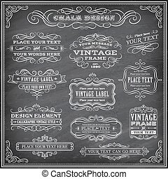 Chalkboard Vector Labels and Banners - Big collection of...