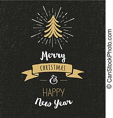 Chalkboard, Vintage style, Christmas Tree