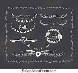 chalkboard wedding, florals vintage