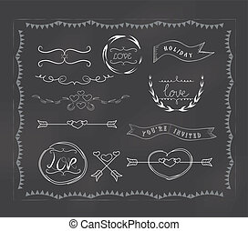 chalkboard wedding, vintage set