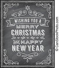 chalkboard, wektor, kartka na boże narodzenie, powitanie