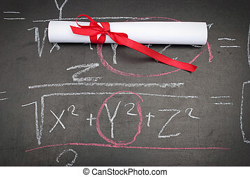 Chalkboard with a diploma