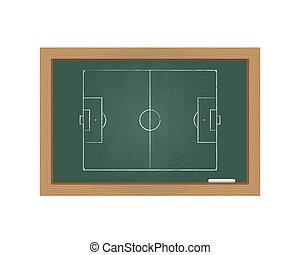 Chalkboard with a football field