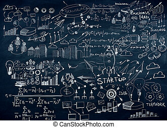 Chalkboard with business sketch