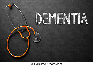 Chalkboard with Dementia Concept. 3D Illustration. - Medical...