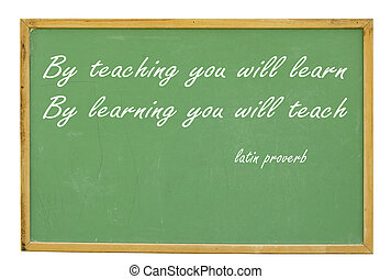 chalkboard with educational latin proverb