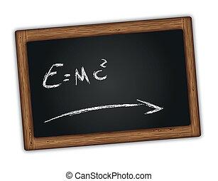 Chalkboard with Einstein equation - Chalkboard with...
