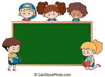 Chalkboard with five happy kids