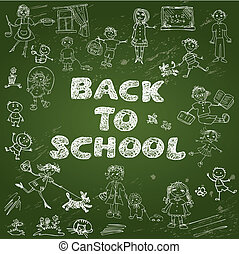 Chalkboard with green surface. Set of Kid's drawing - childish s