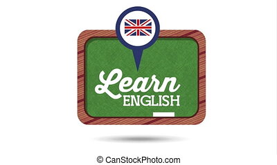 chalkboard with learn english animation - chalkboard with...