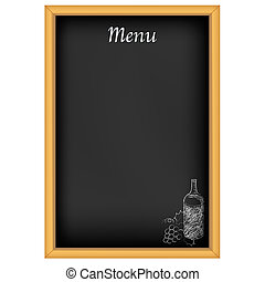 Chalkboard With Menu And Drawing Chalk, Isolated On White Background, Vector Illustration