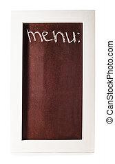 chalkboard with menu