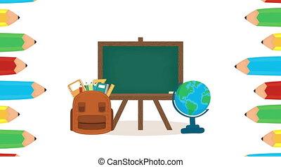chalkboard with school supplies animation