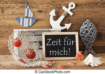 Chalkboard With Summer Decoration, Zeit Means Time -...