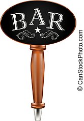 Chalkboard with text bar - Handle for beer tap with oval top...