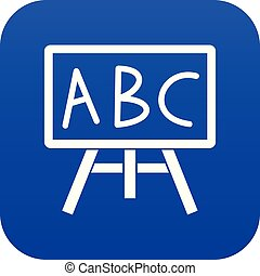 Chalkboard with the leters ABC icon digital blue