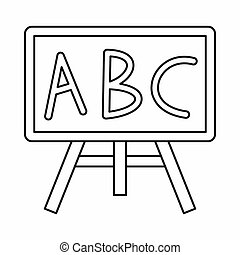 Chalkboard with the leters ABC icon, outline style